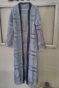 Custom smoky blue crochet kimono duster maxi